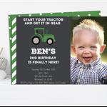 Little Green Tractor Printable Invitation