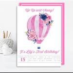 Girls Watercolour Hot Air Balloon Printable Invitation