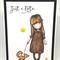 Handmade C6 Hand-coloured Greeting Card Just A Note - Gorjuss Girl & Foxy Friend