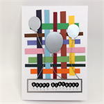Birthday Card - Colourful Stripes, Silver Balloons