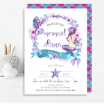 Mermaid Printable Birthday Invitation