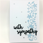 Sympathy - Flower and Vine Cut Panel, White and Pale Blue