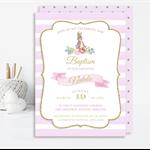 Printable Girls Peter Rabbit Baptism, Christening, 1st Communion Invite