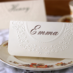 20 x Regency & Georgian era themed wedding party placecards, embossed.
