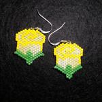 Yellow Roses Beaded Earrings
