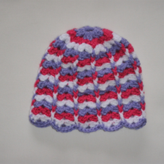Crocheted baby girl hat, beanie - lavender, bright  pink and white
