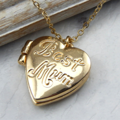 Mum Gold Heart Locket, Opening Locket,photo locket