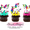 Unicorn Edible Wafer Stand-Up Cupcake Toppers - Set of 16