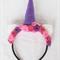 Unicorn Felt Rose Headband: pink, dark pink and purple. #101