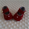 Pure wool hand stitched baby shoes / booties. Embroidered silk bullion roses .
