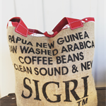 Recycled Sigri Coffee  Burlap/Hessian Tote Bag - Festive Red