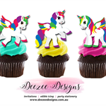 Unicorn Edible Wafer Stand-Up Cupcake Toppers - Set of 12