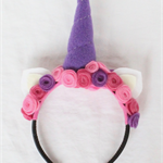 Unicorn Felt Rose Headband: pink, dark pink and purple. #101