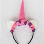 Unicorn Felt Rose Headband: Fluorescent pink, purple and dusty pink roses. #103