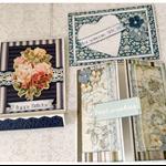 """Blues"" Set of 3 Handmade Cards"