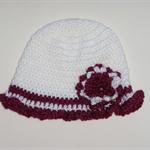 Crocheted baby girl hat, beanie - white with burgundy trim