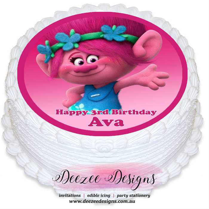 Trolls Personalised Edible Round Cake Topper
