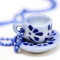 Teacup necklace - teacup pendant - Blue & white miniature china teacup Necklace