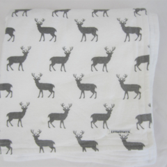 Deer / Stag White and Grey Flannel Baby Blanket
