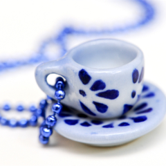 Teacup necklace - teacup pendant - Blue & white miniature china teacup Necklace