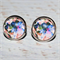 Round Glass Cabochon Stud Earrings 12mm Watercolour Floral Pattern Nickel Free