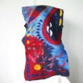 Felted Scarf Wrap Shawl Unique Winter Scarf Art Silk Red