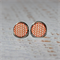 Round Glass Cabochon Stud Earrings 12mm Orange Pane Panel Nickel Free