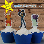 12x Slugterra EDIBLE wafer stand up toppers