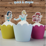 Disney Princesses half body EDIBLE wafer cupcake toppers