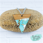 Aqua Blue Cherry Blossom Japanese Chiyogami  Wood Triangle Necklace