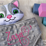 Minky Cat 'Ruggybud' - personalised, comforter, keepsake, lovey.