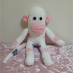 Sock Monkey - white with pink and grey spots