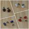 Copper foil stud earrings  in black, white, navy and red