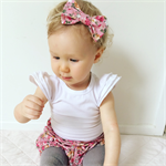 Dusky Pink Floral Shorties Bloomers with matching bow headband