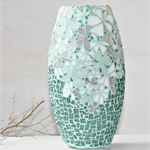 Mosaic vase featuring shaded flowers