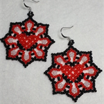 Heart Flower Beaded Earrings