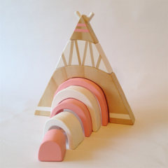 Wooden hand painted  TeePee Stacker. (Pink.)