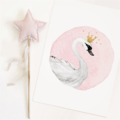 Sara Swan - Children's art. Watercolour swan with gold crown & stars. A4 Print.