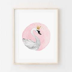 Sara Swan - Children's art. Watercolour swan with gold crown & stars. A4 Print.