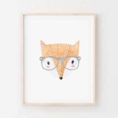 Ferdie Fox - Children's art. Watercolour hipster fox wearing glasses. A4 Print