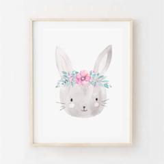 Bella Bunny - Children's art. Watercolour rabbit wearing flower crown. A4 Print