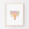 Flora Fox - Children's art. Watercolour fox wearing flower crown. A4 Print