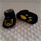 Pure wool hand stitched baby shoes / booties - Tasmanian devil print (gold)