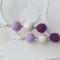 Purple and white felt ball earrings