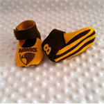 Pure wool hand stitched baby shoes / booties - Footy shoes - Hawthorn