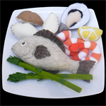 FELT FOOD FISH PRAWNS WEDGES ASPARAGUS MEAL