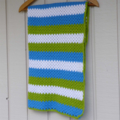 Crochet baby blanket | boy | green, azure blue, cream | gift | baby shower