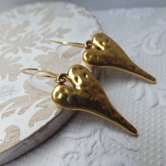 Gold Hammered Stylised Heart on Gold Plated Nickel Free Tall French Earring Hook