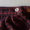 Adjustable wrap ruffle skirt - burgundy, black and tan wool tartan.