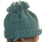 Crocheted mohair ponytail beanie hat that doubles as a cowl/scarf